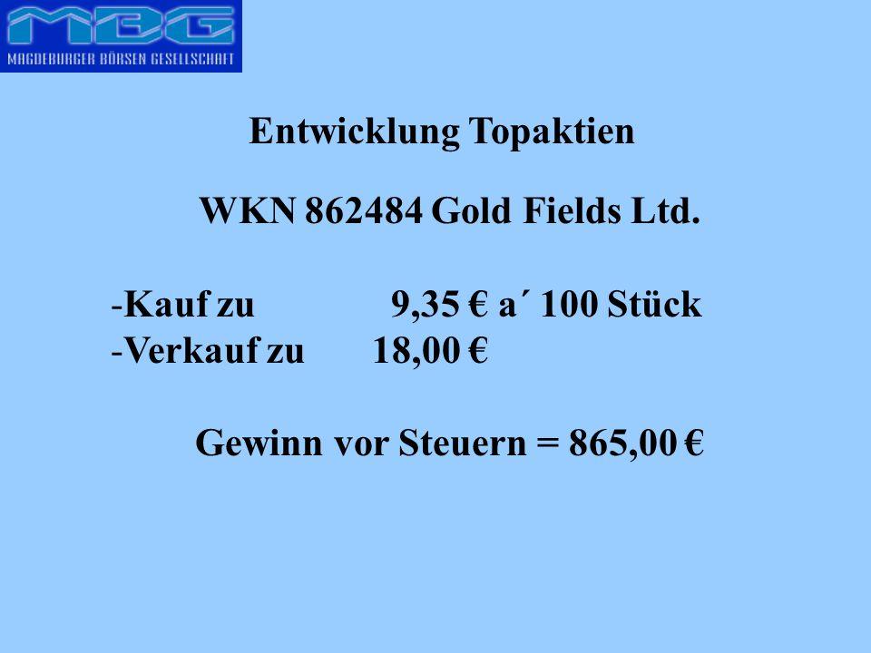 Entwicklung Topaktien WKN 862484 Gold Fields Ltd. -Kauf zu 9,35 a´ 100 Stück -Verkauf zu 18,00 Gewinn vor Steuern = 865,00