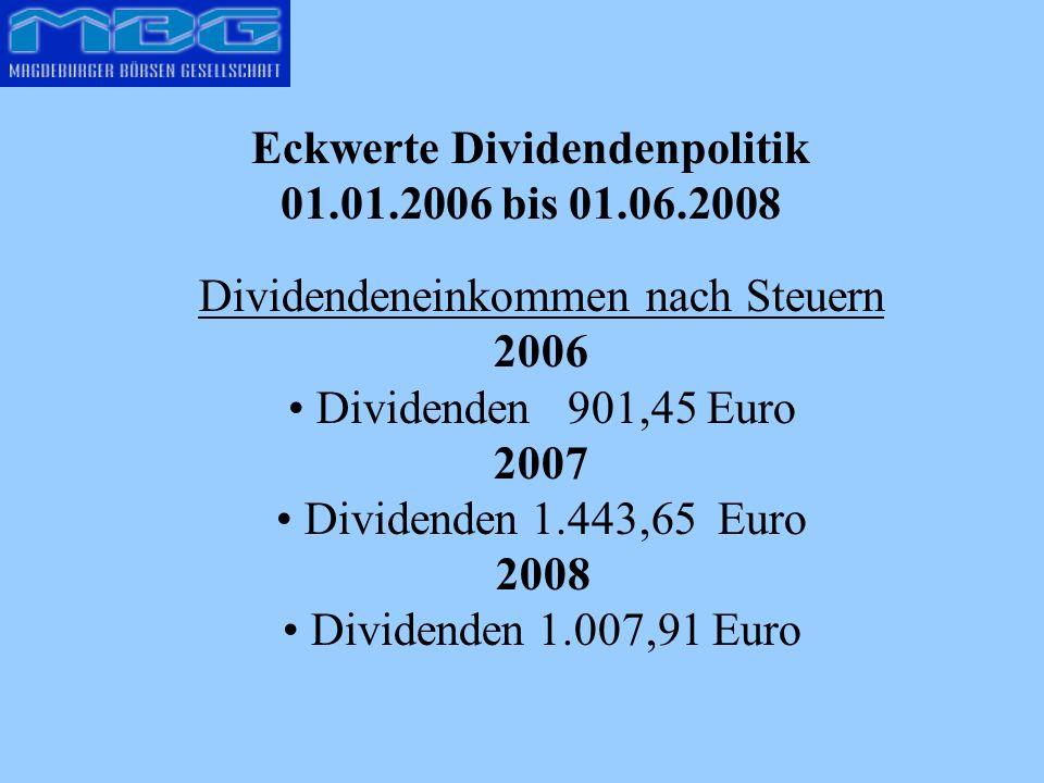 Eckwerte Dividendenpolitik 01.01.2006 bis 01.06.2008 Dividendeneinkommen nach Steuern 2006 Dividenden 901,45 Euro 2007 Dividenden 1.443,65 Euro 2008 Dividenden 1.007,91 Euro
