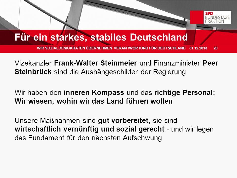 Vizekanzler Frank-Walter Steinmeier und Finanzminister Peer Steinbrück sind die Aushängeschilder der Regierung Wir haben den inneren Kompass und das r