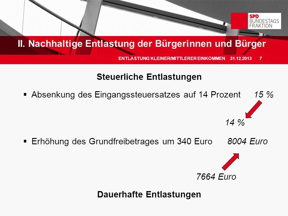 Steuerliche Entlastungen Absenkung des Eingangssteuersatzes auf 14 Prozent15 % 14 % Erhöhung des Grundfreibetrages um 340 Euro 8004 Euro 7664 Euro Dau