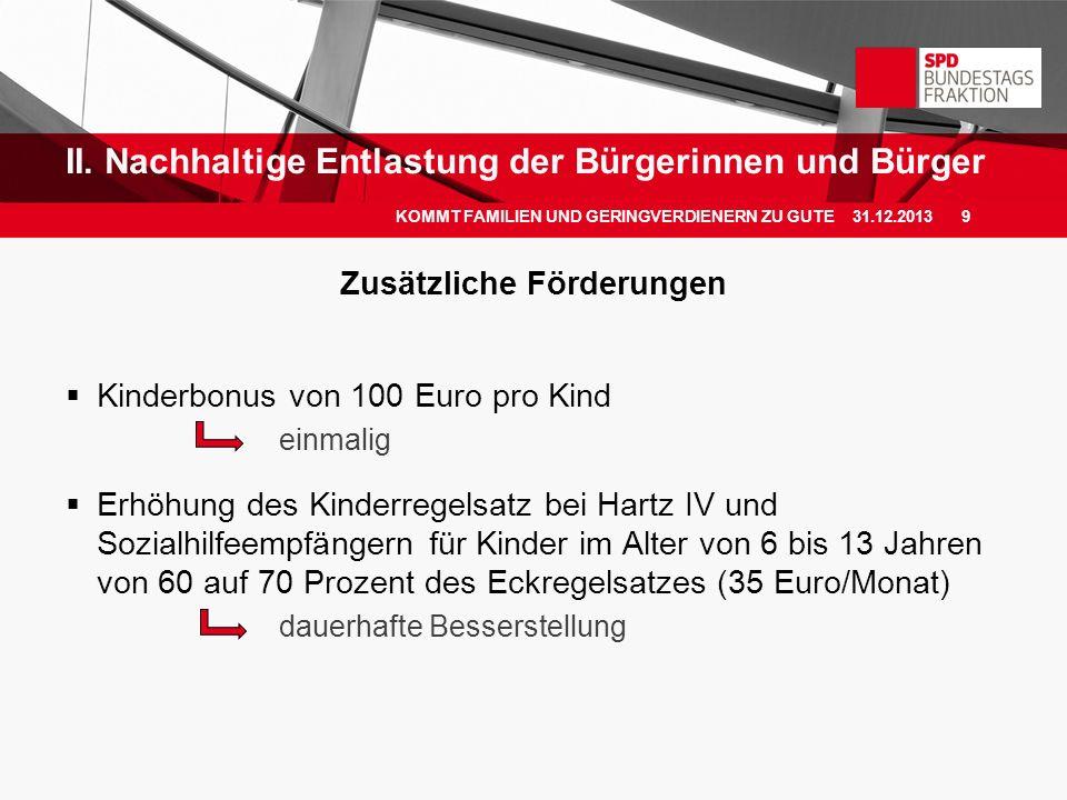 Zusätzliche Förderungen Kinderbonus von 100 Euro pro Kind einmalig Erhöhung des Kinderregelsatz bei Hartz IV und Sozialhilfeempfängern für Kinder im A