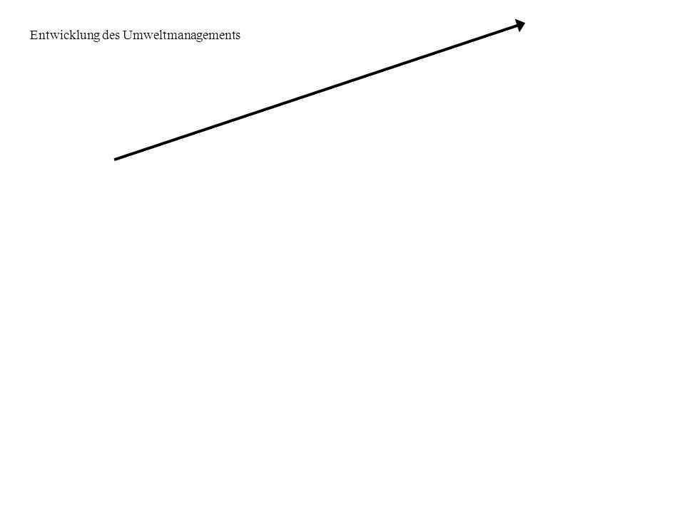 Vergangenheit I Prozess RHB* Produkt Produkt = Output Klassische Unternehmensziele - Umsatzmaximierung - Gewinnmaximierung - maximale Kapazitätsauslastung - maximales Wachstum - Marktanteils- maximierung * RHB – Roh-, Hilfs- und Betriebsstoffe Entwicklung des Umweltmanagements