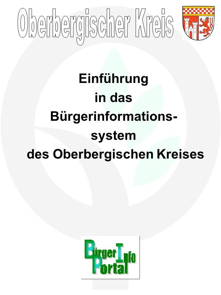 Einführung in das Bürgerinformations- system des Oberbergischen Kreises
