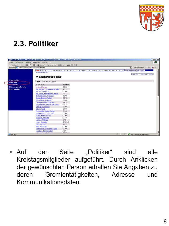 Auf der Seite Politiker sind alle Kreistagsmitglieder aufgeführt.