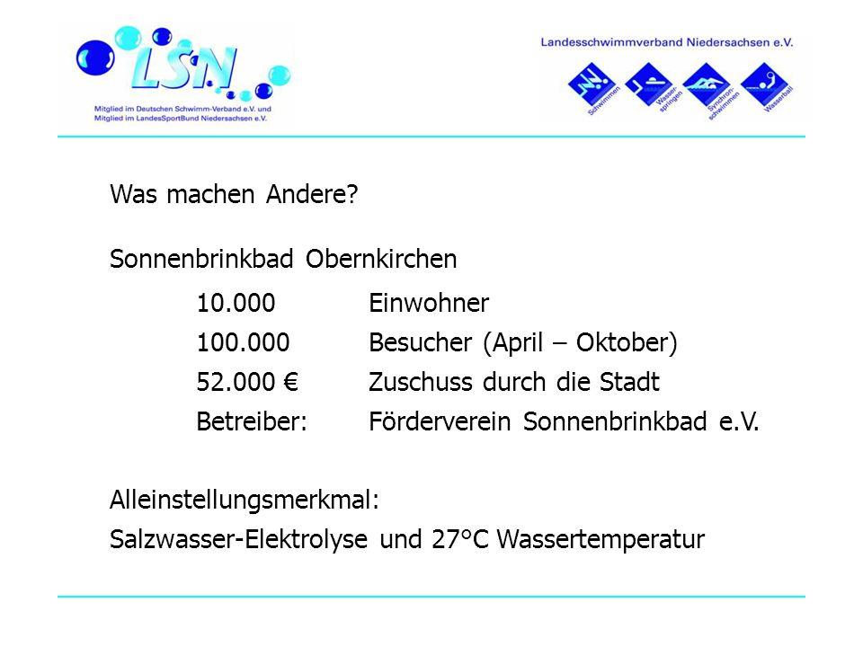 Was machen Andere? Sonnenbrinkbad Obernkirchen 10.000 Einwohner 100.000 Besucher (April – Oktober) 52.000 Zuschuss durch die Stadt Betreiber: Förderve
