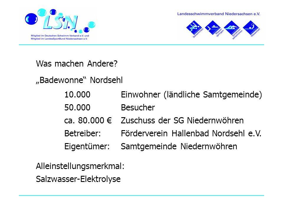 Was machen Andere? Badewonne Nordsehl 10.000 Einwohner (ländliche Samtgemeinde) 50.000 Besucher ca. 80.000 Zuschuss der SG Niedernwöhren Betreiber: Fö