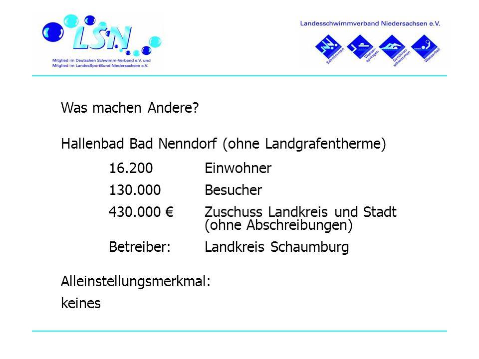 Was machen Andere? Hallenbad Bad Nenndorf (ohne Landgrafentherme) 16.200 Einwohner 130.000 Besucher 430.000 Zuschuss Landkreis und Stadt (ohne Abschre