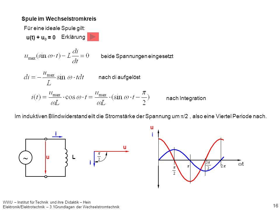 WWU – Institut für Technik und ihre Didaktik – Hein Elektronik/Elektrotechnik – 3.1Grundlagen der Wechselstromtechnik 15 X c ist der im Wechselstromkr