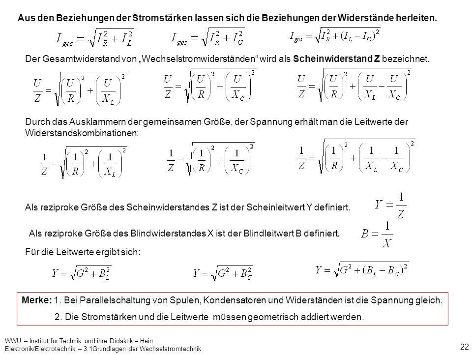 WWU – Institut für Technik und ihre Didaktik – Hein Elektronik/Elektrotechnik – 3.1Grundlagen der Wechselstromtechnik 21 ? Parallel- und Reihenschaltu