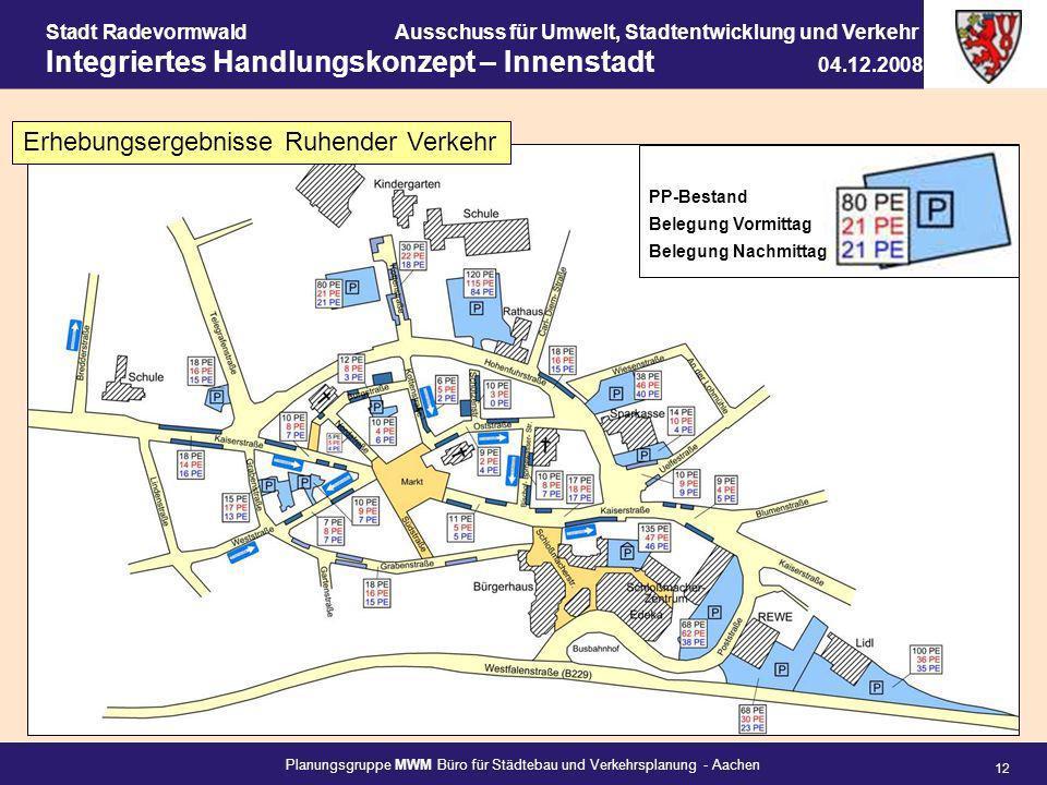 Planungsgruppe MWM Büro für Städtebau und Verkehrsplanung - Aachen 12 Stadt RadevormwaldAusschuss für Umwelt, Stadtentwicklung und Verkehr Integrierte