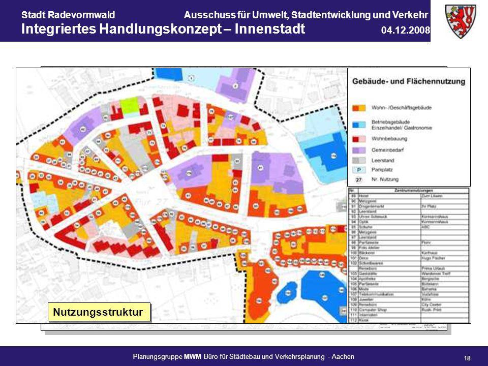 Stadt RadevormwaldAusschuss für Umwelt, Stadtentwicklung und Verkehr Integriertes Handlungskonzept – Innenstadt 04.12.2008 Planungsgruppe MWM Büro für