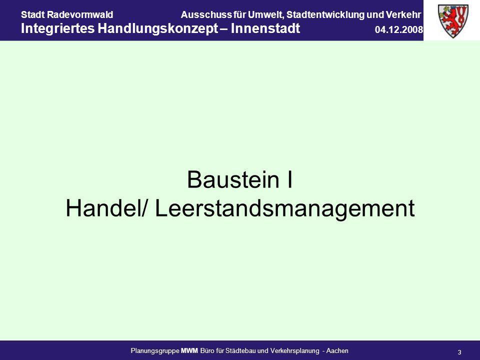 Planungsgruppe MWM Büro für Städtebau und Verkehrsplanung - Aachen 3 Stadt RadevormwaldAusschuss für Umwelt, Stadtentwicklung und Verkehr Integriertes