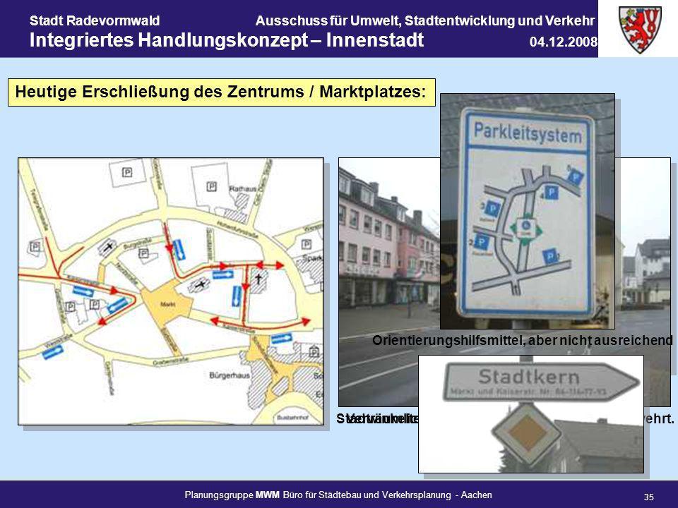 Planungsgruppe MWM Büro für Städtebau und Verkehrsplanung - Aachen 35 Stadt RadevormwaldAusschuss für Umwelt, Stadtentwicklung und Verkehr Integrierte
