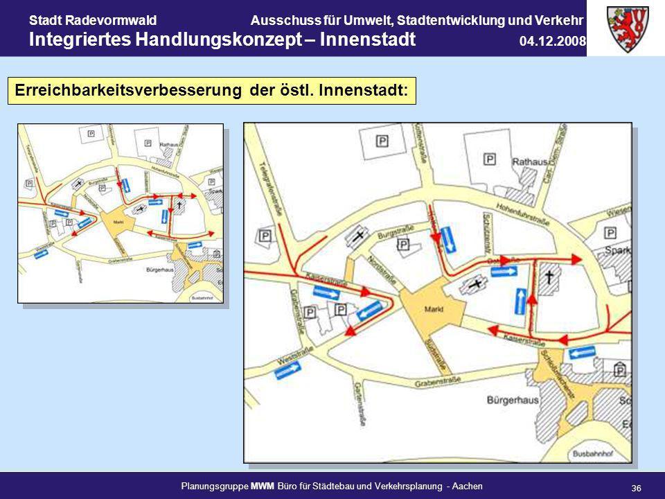 Planungsgruppe MWM Büro für Städtebau und Verkehrsplanung - Aachen 36 Stadt RadevormwaldAusschuss für Umwelt, Stadtentwicklung und Verkehr Integrierte