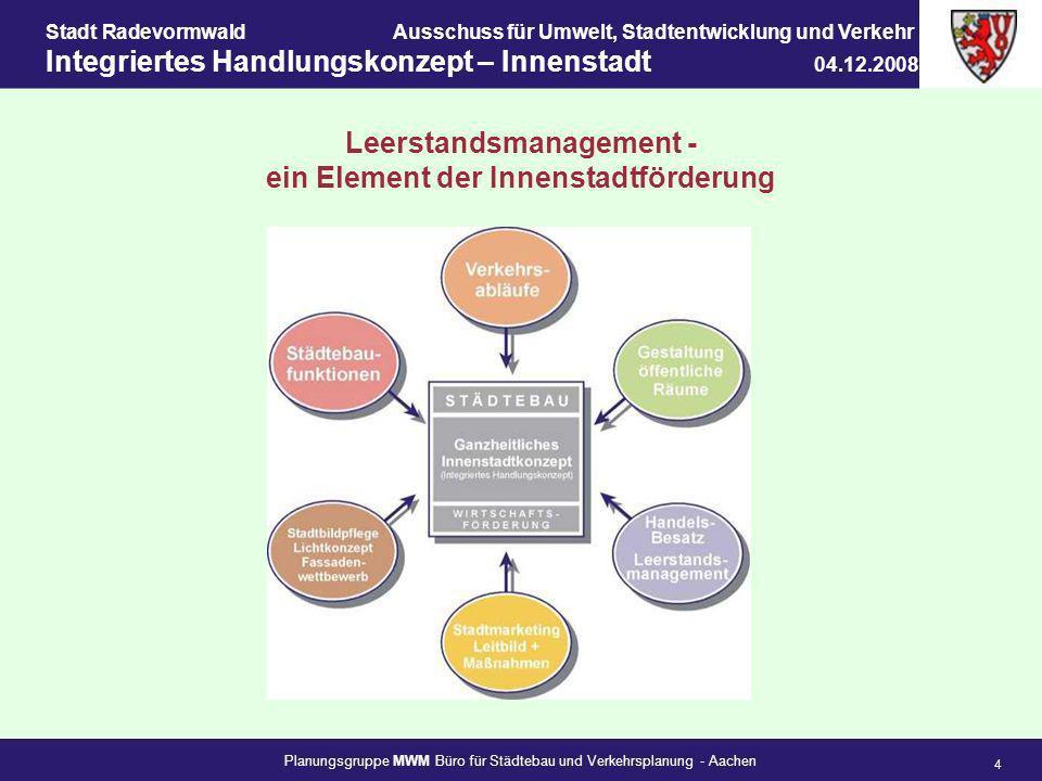 Planungsgruppe MWM Büro für Städtebau und Verkehrsplanung - Aachen 4 Stadt RadevormwaldAusschuss für Umwelt, Stadtentwicklung und Verkehr Integriertes