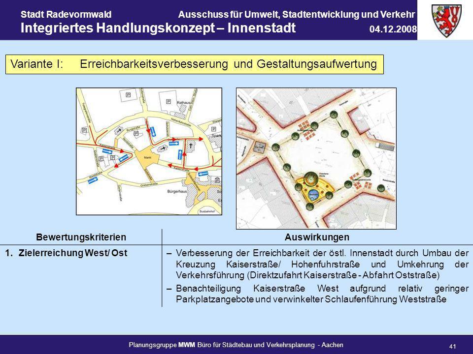 Planungsgruppe MWM Büro für Städtebau und Verkehrsplanung - Aachen 41 Stadt RadevormwaldAusschuss für Umwelt, Stadtentwicklung und Verkehr Integrierte