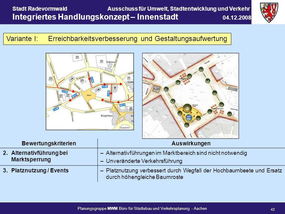 Planungsgruppe MWM Büro für Städtebau und Verkehrsplanung - Aachen 42 Stadt RadevormwaldAusschuss für Umwelt, Stadtentwicklung und Verkehr Integrierte