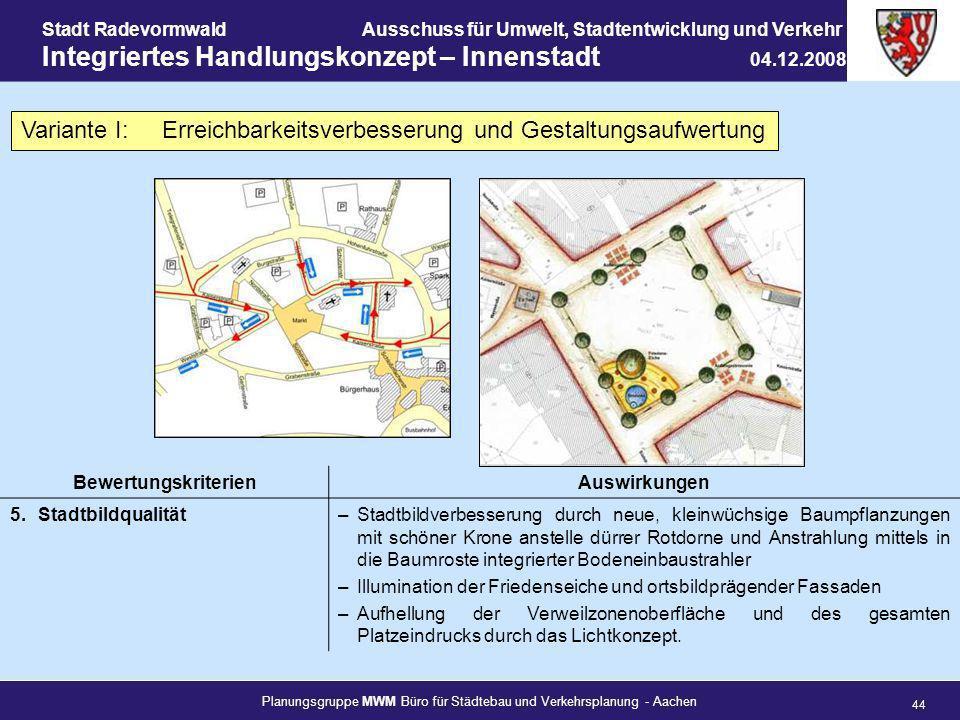 Planungsgruppe MWM Büro für Städtebau und Verkehrsplanung - Aachen 44 Stadt RadevormwaldAusschuss für Umwelt, Stadtentwicklung und Verkehr Integrierte