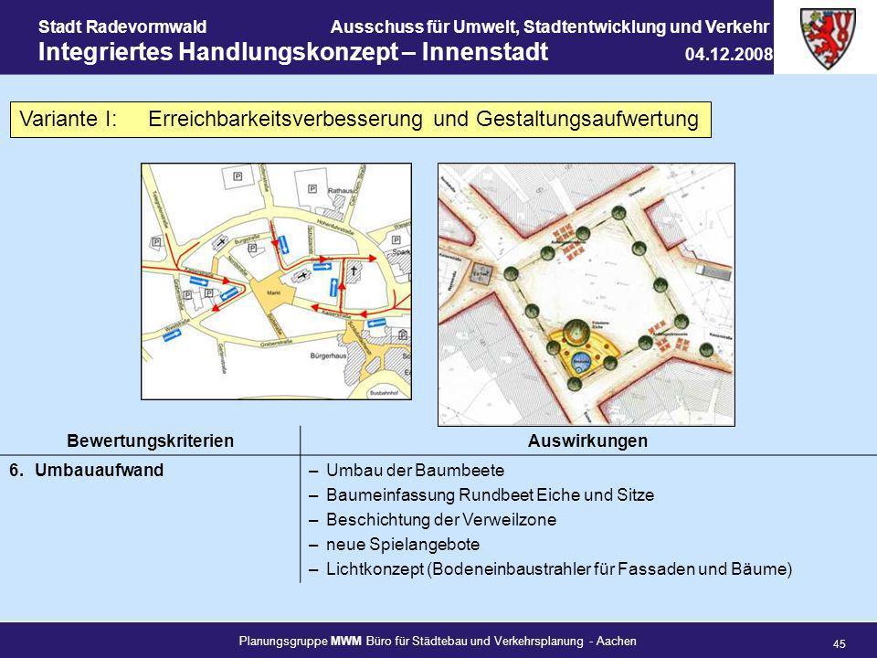 Planungsgruppe MWM Büro für Städtebau und Verkehrsplanung - Aachen 45 Stadt RadevormwaldAusschuss für Umwelt, Stadtentwicklung und Verkehr Integrierte