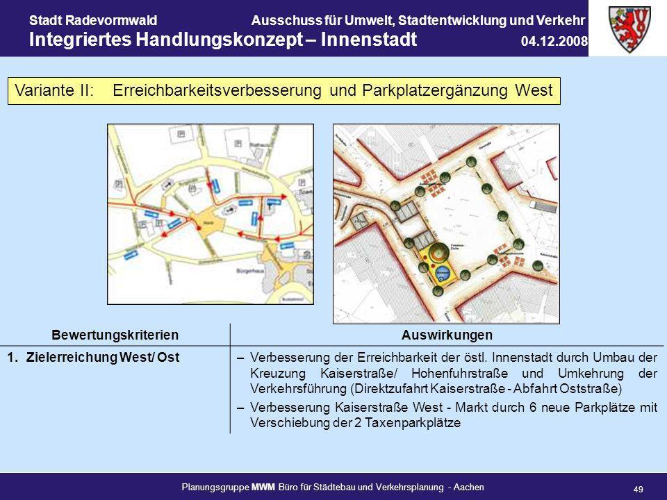 Planungsgruppe MWM Büro für Städtebau und Verkehrsplanung - Aachen 49 Stadt RadevormwaldAusschuss für Umwelt, Stadtentwicklung und Verkehr Integrierte