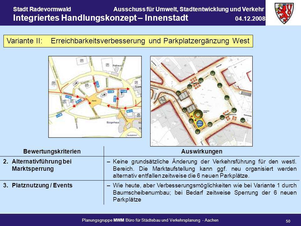 Planungsgruppe MWM Büro für Städtebau und Verkehrsplanung - Aachen 50 Stadt RadevormwaldAusschuss für Umwelt, Stadtentwicklung und Verkehr Integrierte