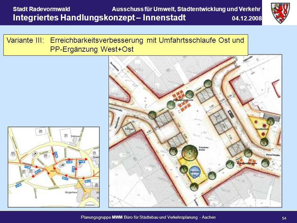 Planungsgruppe MWM Büro für Städtebau und Verkehrsplanung - Aachen 54 Stadt RadevormwaldAusschuss für Umwelt, Stadtentwicklung und Verkehr Integrierte