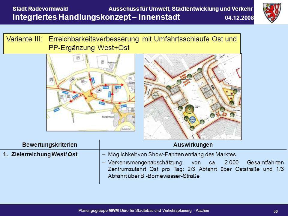Planungsgruppe MWM Büro für Städtebau und Verkehrsplanung - Aachen 56 Stadt RadevormwaldAusschuss für Umwelt, Stadtentwicklung und Verkehr Integrierte
