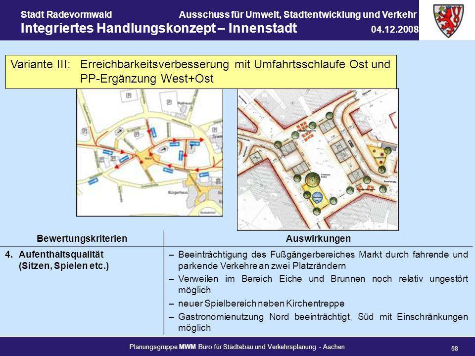 Planungsgruppe MWM Büro für Städtebau und Verkehrsplanung - Aachen 58 Stadt RadevormwaldAusschuss für Umwelt, Stadtentwicklung und Verkehr Integrierte
