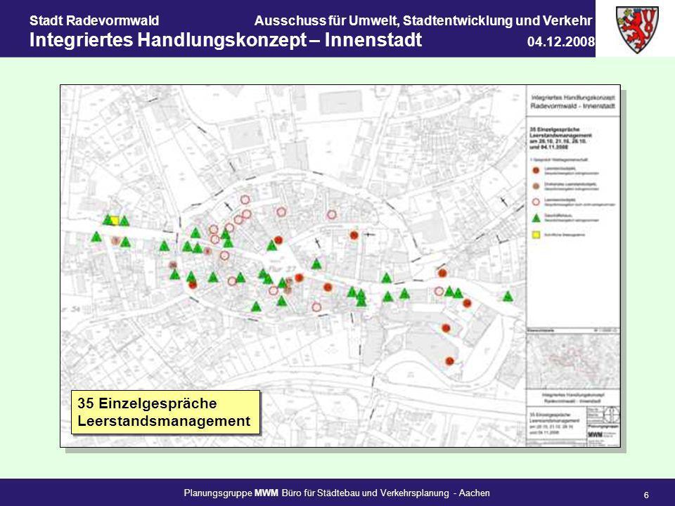 Planungsgruppe MWM Büro für Städtebau und Verkehrsplanung - Aachen 6 Stadt RadevormwaldAusschuss für Umwelt, Stadtentwicklung und Verkehr Integriertes