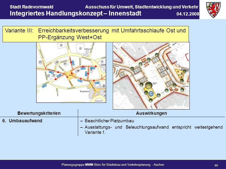 Planungsgruppe MWM Büro für Städtebau und Verkehrsplanung - Aachen 60 Stadt RadevormwaldAusschuss für Umwelt, Stadtentwicklung und Verkehr Integrierte