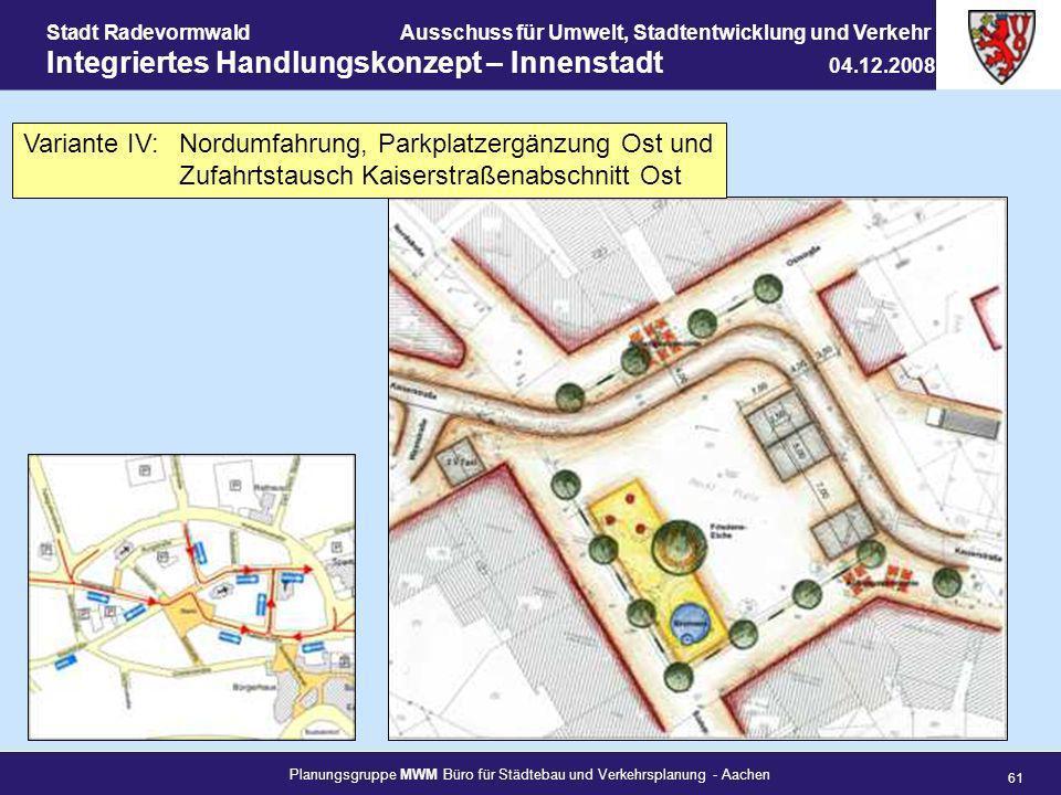 Planungsgruppe MWM Büro für Städtebau und Verkehrsplanung - Aachen 61 Stadt RadevormwaldAusschuss für Umwelt, Stadtentwicklung und Verkehr Integrierte