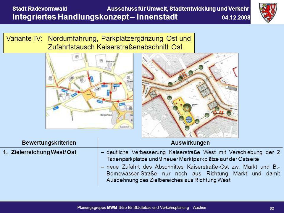 Planungsgruppe MWM Büro für Städtebau und Verkehrsplanung - Aachen 62 Stadt RadevormwaldAusschuss für Umwelt, Stadtentwicklung und Verkehr Integrierte