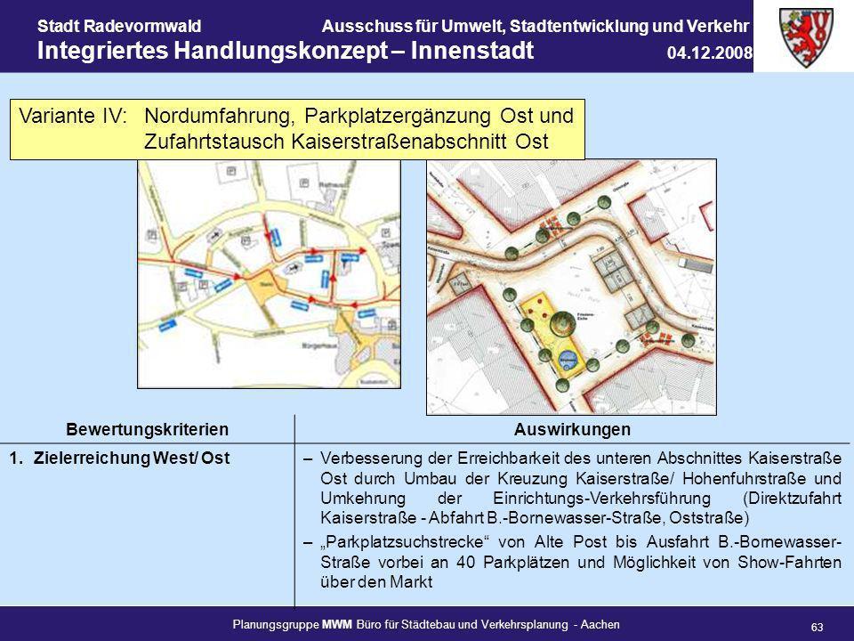 Planungsgruppe MWM Büro für Städtebau und Verkehrsplanung - Aachen 63 Stadt RadevormwaldAusschuss für Umwelt, Stadtentwicklung und Verkehr Integrierte