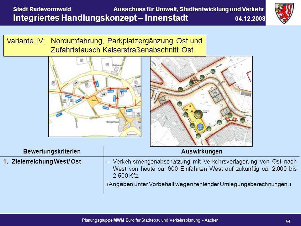Planungsgruppe MWM Büro für Städtebau und Verkehrsplanung - Aachen 64 Stadt RadevormwaldAusschuss für Umwelt, Stadtentwicklung und Verkehr Integrierte