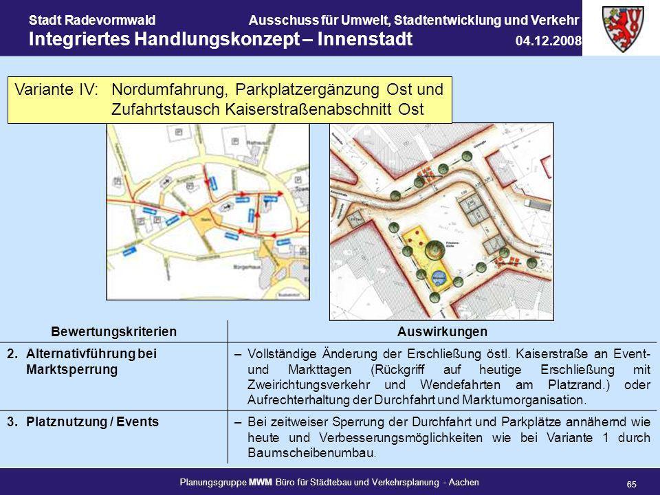 Planungsgruppe MWM Büro für Städtebau und Verkehrsplanung - Aachen 65 Stadt RadevormwaldAusschuss für Umwelt, Stadtentwicklung und Verkehr Integrierte