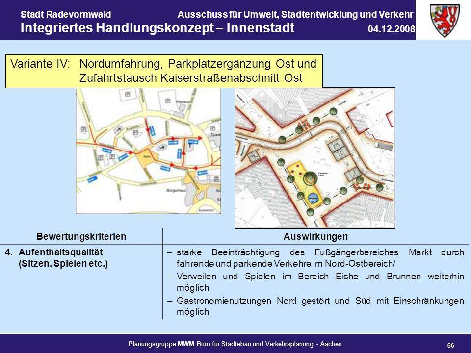 Planungsgruppe MWM Büro für Städtebau und Verkehrsplanung - Aachen 66 Stadt RadevormwaldAusschuss für Umwelt, Stadtentwicklung und Verkehr Integrierte