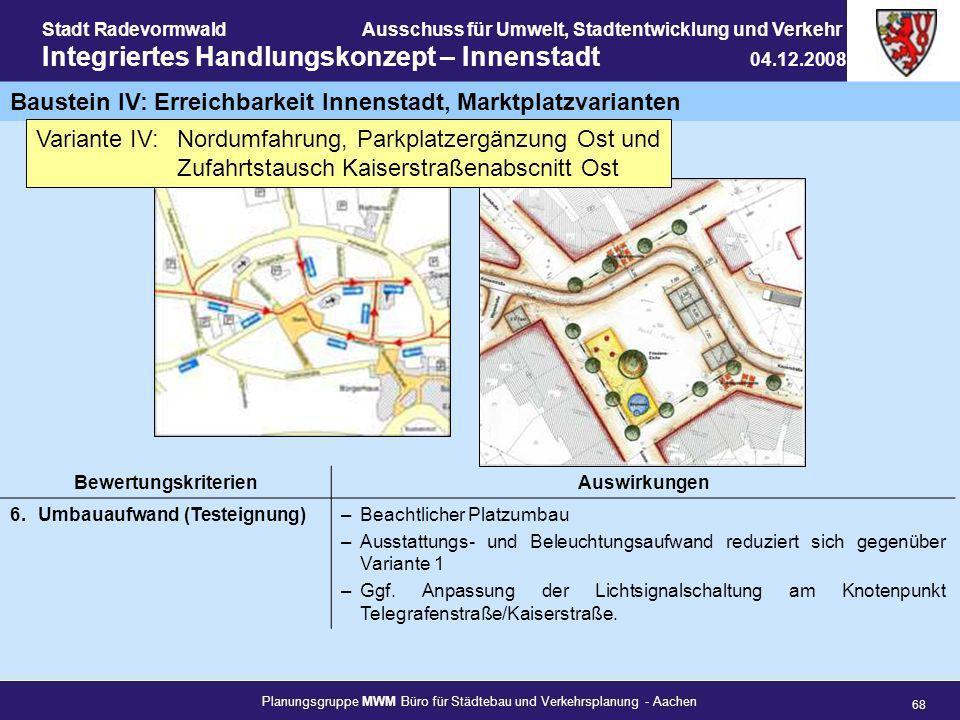 Planungsgruppe MWM Büro für Städtebau und Verkehrsplanung - Aachen 68 Stadt RadevormwaldAusschuss für Umwelt, Stadtentwicklung und Verkehr Integrierte