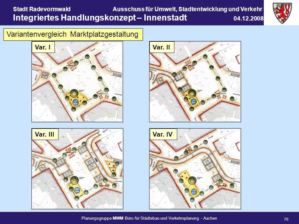 Planungsgruppe MWM Büro für Städtebau und Verkehrsplanung - Aachen 70 Stadt RadevormwaldAusschuss für Umwelt, Stadtentwicklung und Verkehr Integrierte