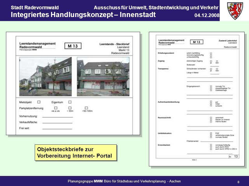 Planungsgruppe MWM Büro für Städtebau und Verkehrsplanung - Aachen 8 Stadt RadevormwaldAusschuss für Umwelt, Stadtentwicklung und Verkehr Integriertes