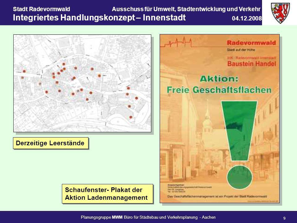 Planungsgruppe MWM Büro für Städtebau und Verkehrsplanung - Aachen 9 Stadt RadevormwaldAusschuss für Umwelt, Stadtentwicklung und Verkehr Integriertes