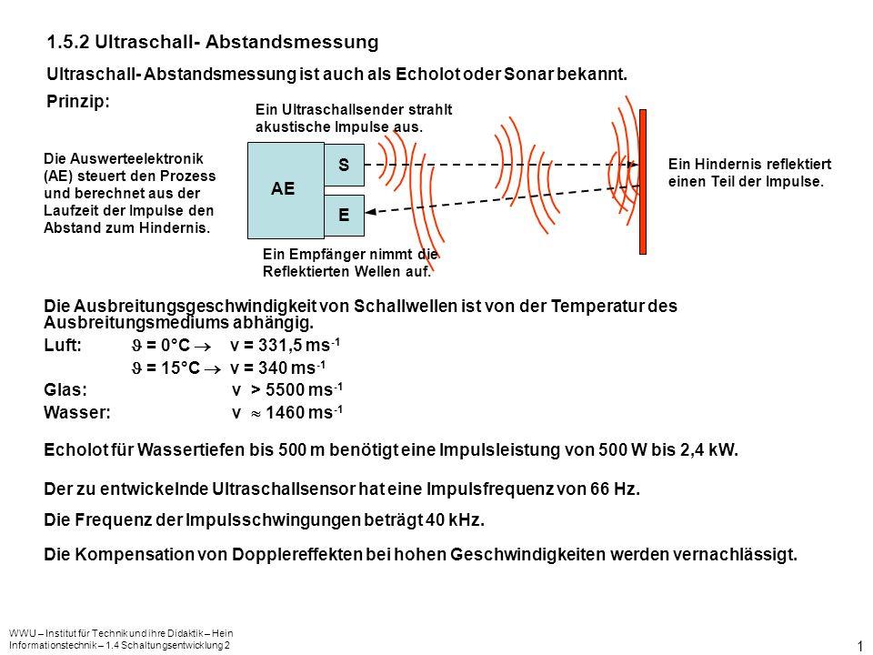 WWU – Institut für Technik und ihre Didaktik – Hein Informationstechnik – 1.4 Schaltungsentwicklung 2 2 Entwicklung des Blockschaltbildes Kompa- rator Zähler Reset CLK Q 4 Q 3 Q 2 Q 1 A 4 A 3 A 2 A 1 Decoder Q 9 Q 8 Q 7 Q 6 Q 5 Q 4 Q 3 Q 2 Q 1 Q 0 Speicher Q 4 Q 3 Q 2 Q 1 CLK D 4 D 3 D 2 D 1 & IC1 Reset Oszillator 500 kHz Binärteiler Q 14 Q 8 Q 7 Q 6 Q 5 Takt- generator Oszillator 40 kHz US - Oszillator Impuls- verstärker US-Lautsprecher US-Mikrofon Impuls- verstärker S T Q R Q RS-FF MP1 & Die Stromversorgung der einzelnen Baugruppen wurde nicht mit dargestellt.
