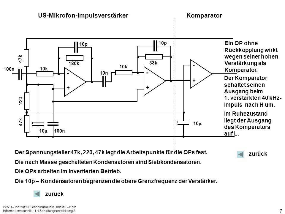 WWU – Institut für Technik und ihre Didaktik – Hein Informationstechnik – 1.4 Schaltungsentwicklung 2 8 && C1C1 C2C2 R1R1 R2R2 G1G1 G2G2 uaua Für die Frequenz f der Ausgangsspannung U a gilt: US – Oszillator: f = 40 kHz zurück Es wird ein Kondensator mit C = 1 nF ausgewählt.