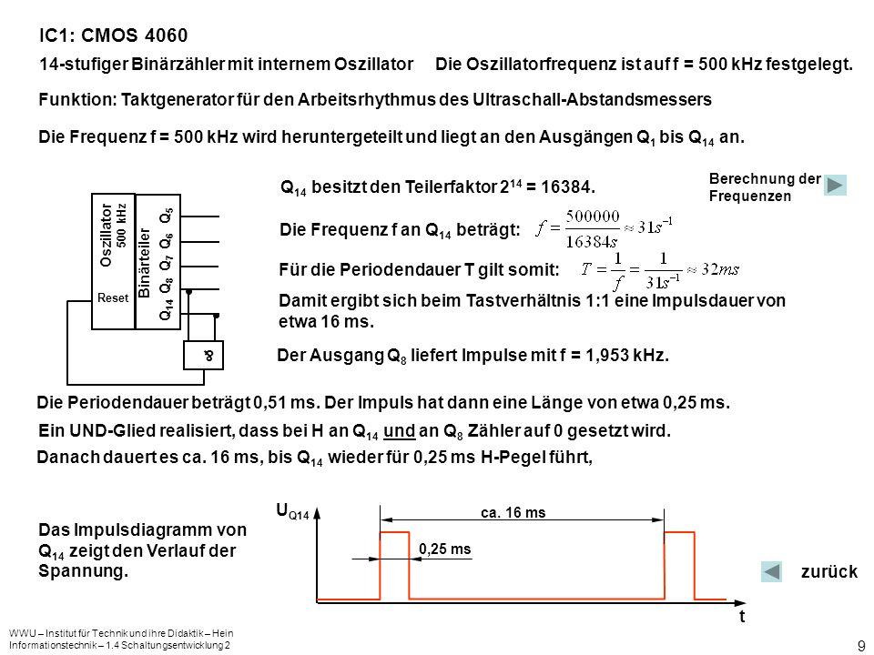 WWU – Institut für Technik und ihre Didaktik – Hein Informationstechnik – 1.4 Schaltungsentwicklung 2 10 CD 4060 Q 1 Q 2 Q 3 Q 4 Q 5 Q 6 Q 7 Q 8 Q 9 Q 10 Q 11 Q 12 Q 13 Q 14 FYO FY1 FYO RESET 2 12 2 3 2 4 2 5 2 6 2 7 2 8 2 9 2 10 2 11 2 12 2 13 2 14 Potenzen, durch die die Oszillatorfre- quenz geteilt werden muss 2 4 8 16 32 64 128 256 512 1024 2048 4096 8192 16384 Teiler Frequenzen an den Ausgängen in kHz 250 125 62,5 31,25 15,635 7,813 3,906 1,953 0,977 0,488 0,244 0,122 0,061 0,031 3.