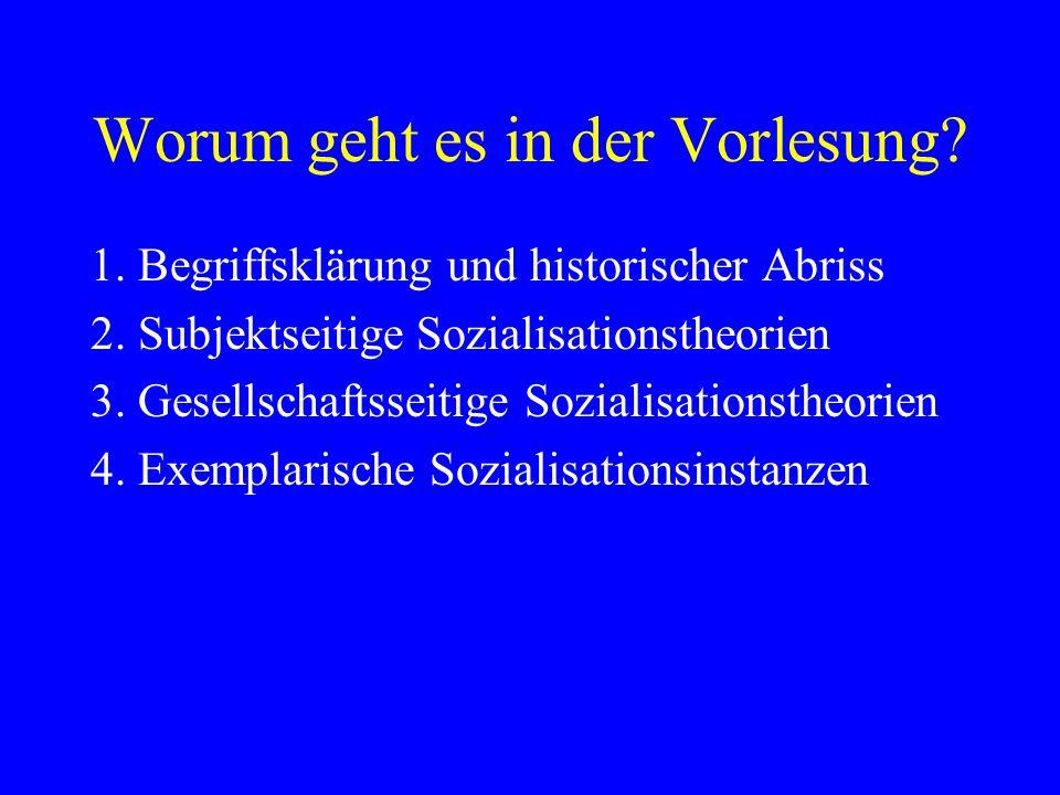 Worum geht es in der Vorlesung? 1. Begriffsklärung und historischer Abriss 2. Subjektseitige Sozialisationstheorien 3. Gesellschaftsseitige Sozialisat