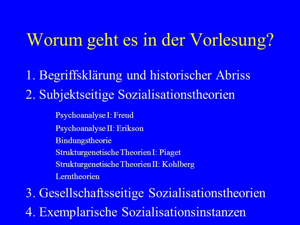 Worum geht es in der Vorlesung? 1. Begriffsklärung und historischer Abriss 2. Subjektseitige Sozialisationstheorien Psychoanalyse I: Freud Psychoanaly