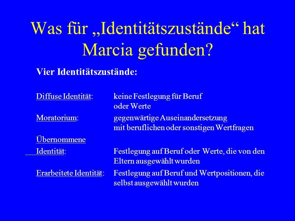 Was für Identitätszustände hat Marcia gefunden? Vier Identitätszustände: Diffuse Identität:keine Festlegung für Beruf oder Werte Moratorium: gegenwärt