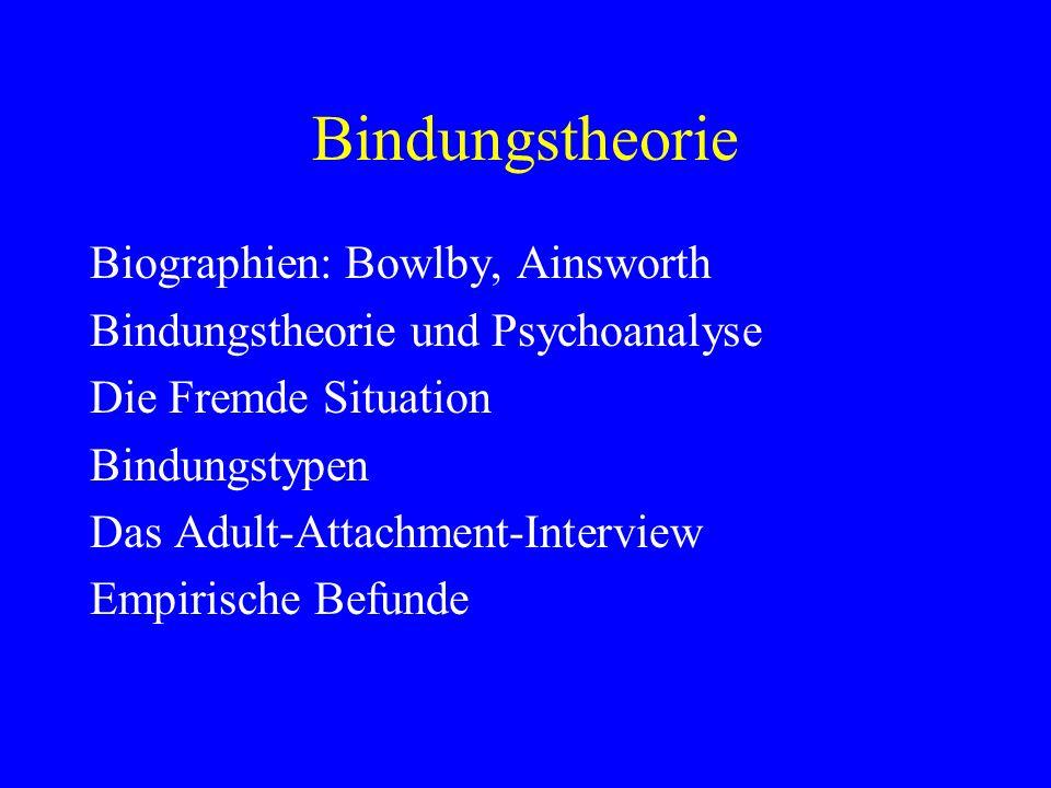 Bindungstheorie Biographien: Bowlby, Ainsworth Bindungstheorie und Psychoanalyse Die Fremde Situation Bindungstypen Das Adult-Attachment-Interview Emp