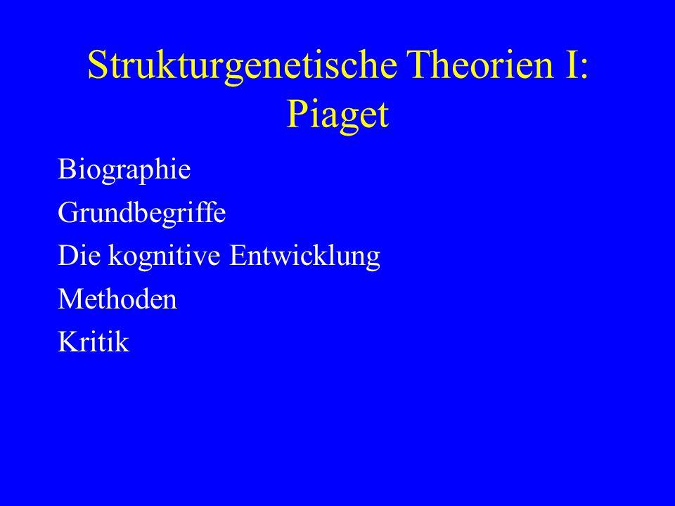 Strukturgenetische Theorien I: Piaget Biographie Grundbegriffe Die kognitive Entwicklung Methoden Kritik