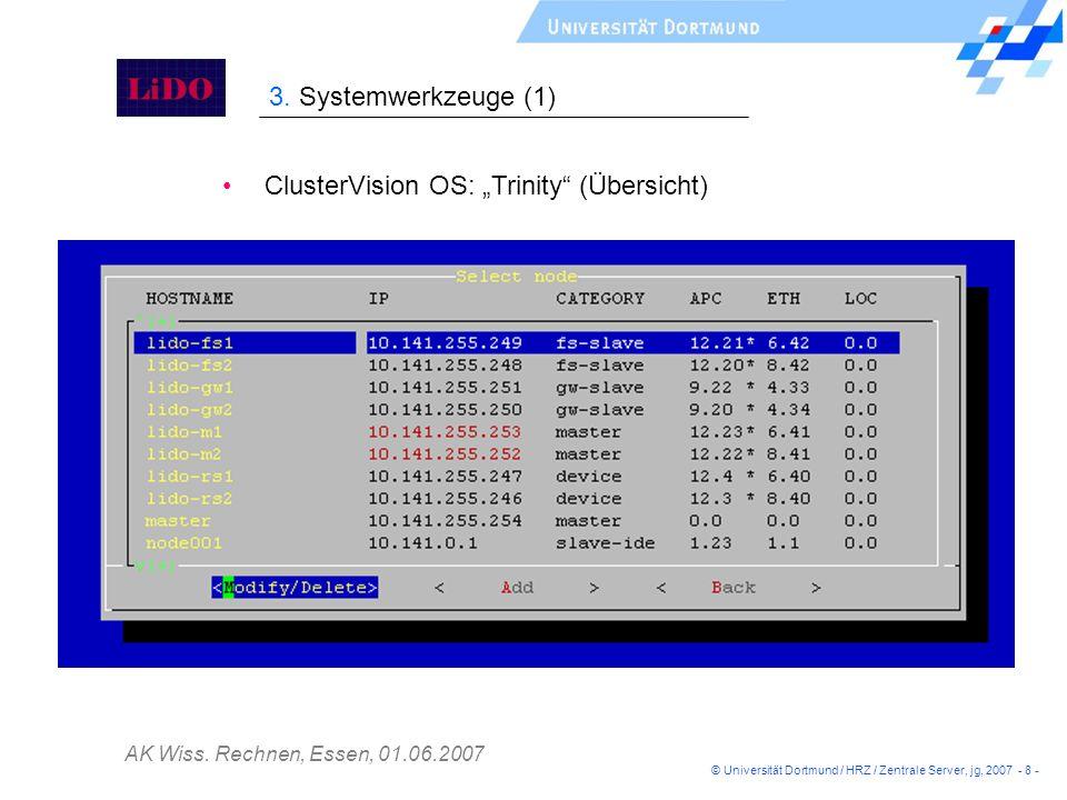 AK Wiss. Rechnen, Essen, 01.06.2007 ClusterVision OS: Trinity (Übersicht) 3. Systemwerkzeuge (1) © Universität Dortmund / HRZ / Zentrale Server, jg, 2