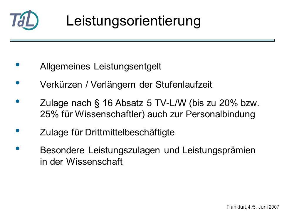 Allgemeines Leistungsentgelt Verkürzen / Verlängern der Stufenlaufzeit Zulage nach § 16 Absatz 5 TV-L/W (bis zu 20% bzw. 25% für Wissenschaftler) auch